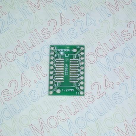 Perėjimas (adapteriai) iš SMT Į DIP SSOP20 (0,65mm) SOP20 (1,27mm)