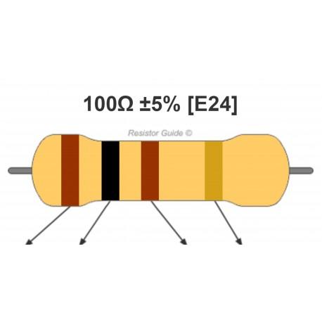 Rezistorius 100Ω 5% 0.25W